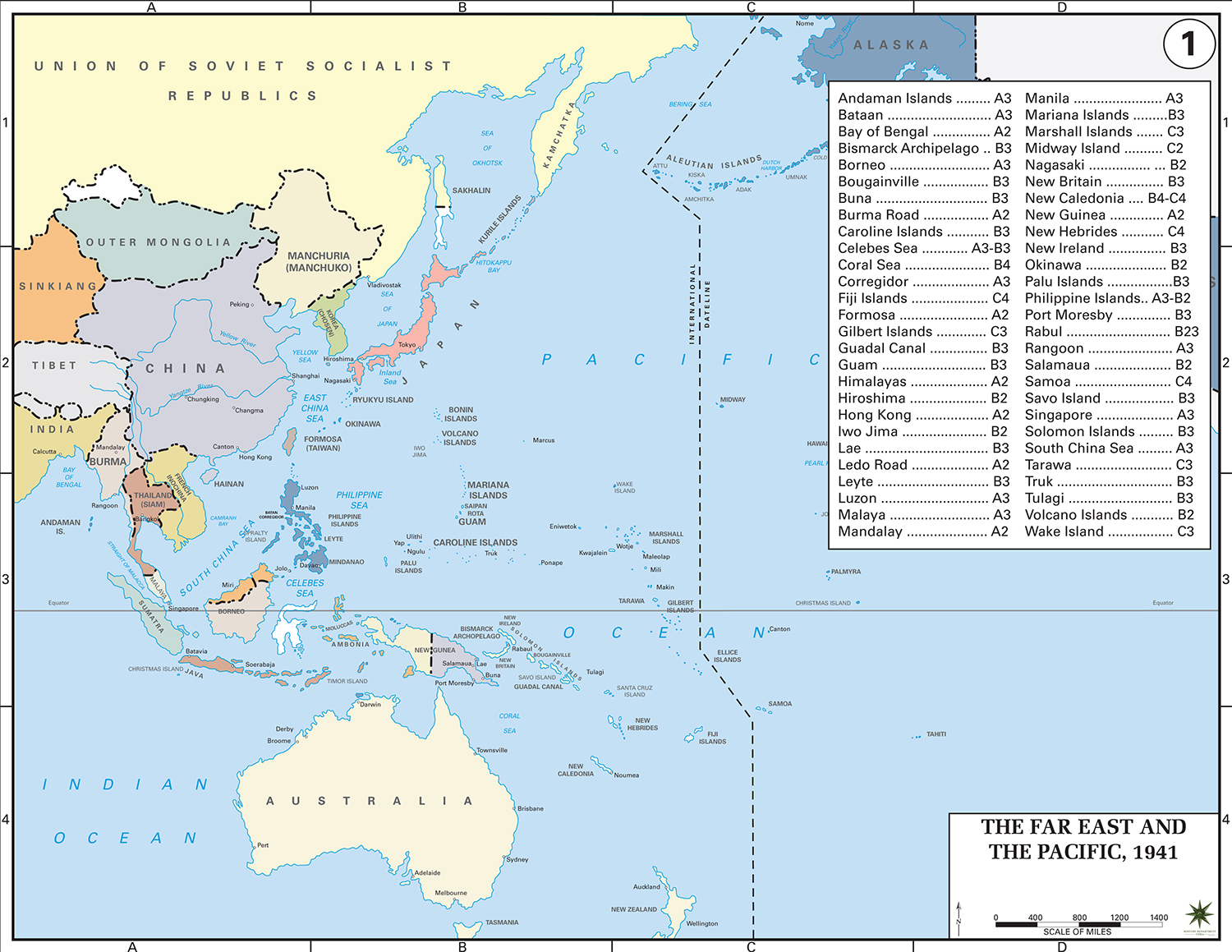 History Map of WWII: The Far East and the Pacific 1941
