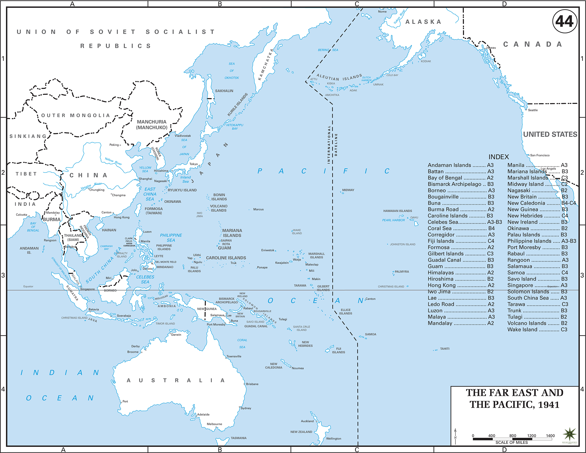Map Of WWII The Far East And The Pacific 1941