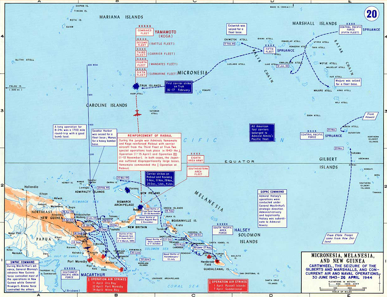 Map Of World War II: The Pacific. Cartwheel, The Seizure Of The Gilberts