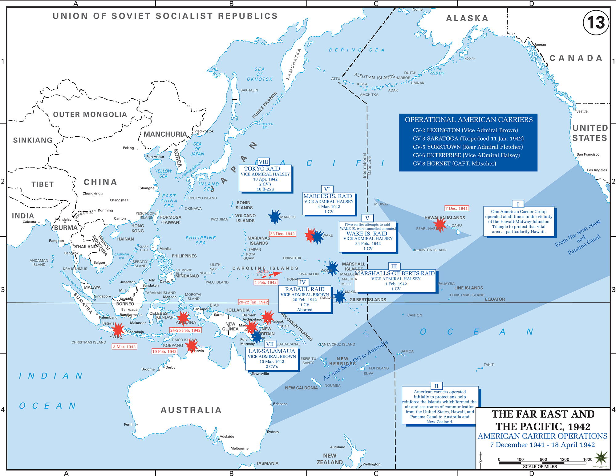 Map of WWII: American Carriers in the Pacific 1941/42