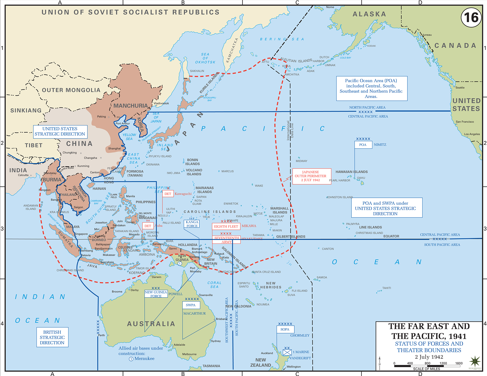Map of wwii situation july 2 1942 map of world war ii the far east and the pacific status of allied gumiabroncs Gallery