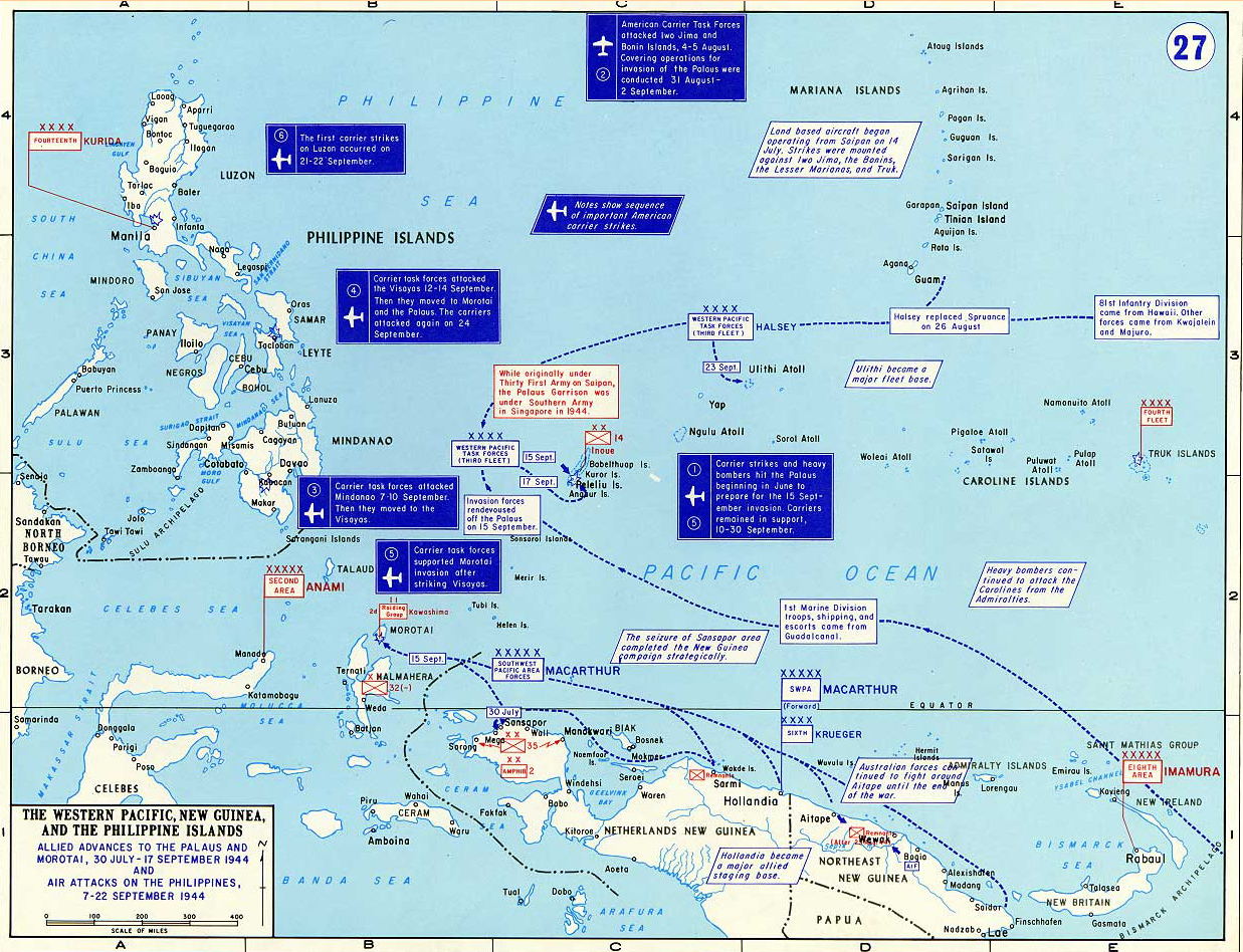 Map of World War II: Western Pacific, New Guinea, and the Philippine Islands. Allied