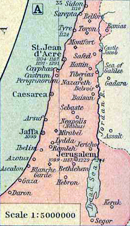 Map of Palestine 1187 AD