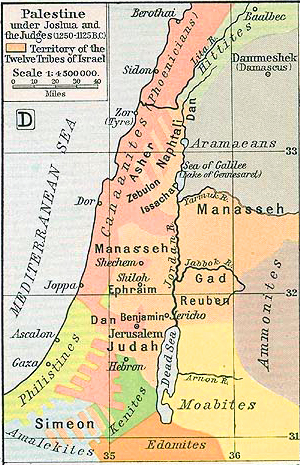 Map of Palestine 1250-1125 BC