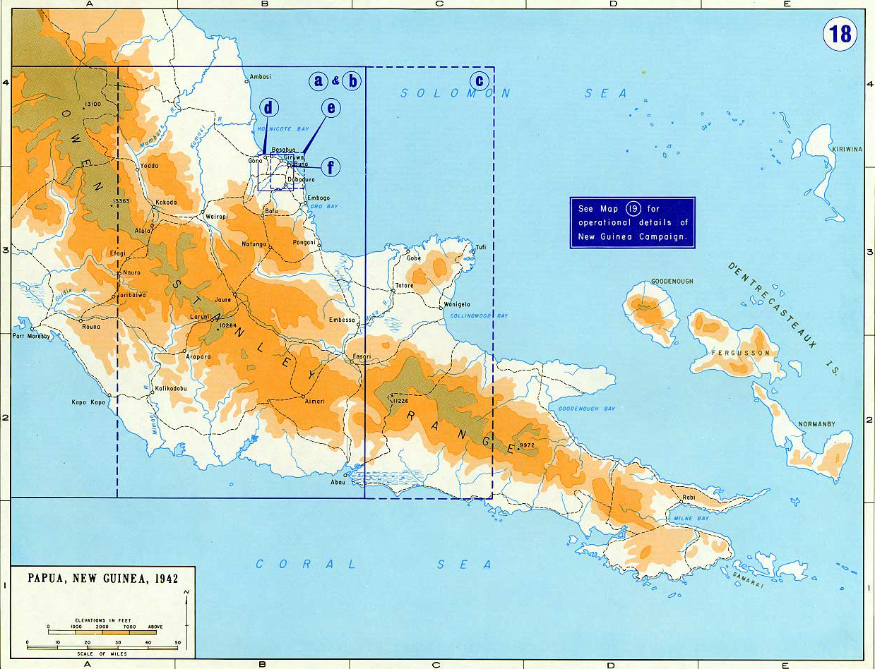 Map of New Guinea World War II