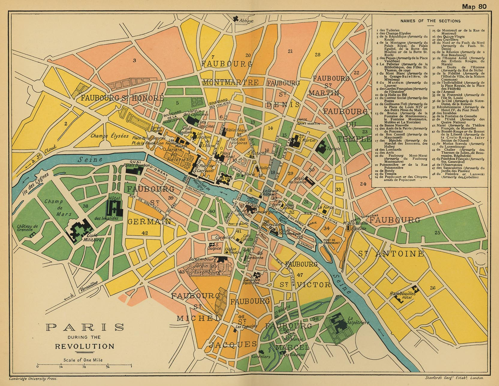 Map of Paris during the Revolution