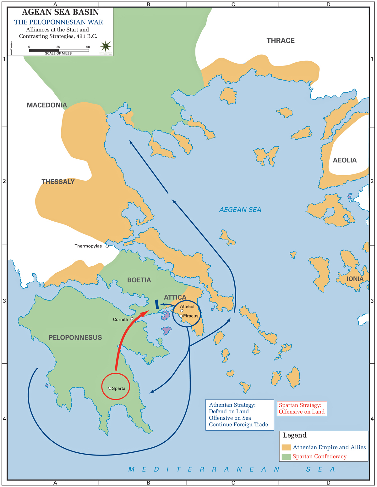 Map of the Peloponnesian War - Alliances 431 BC