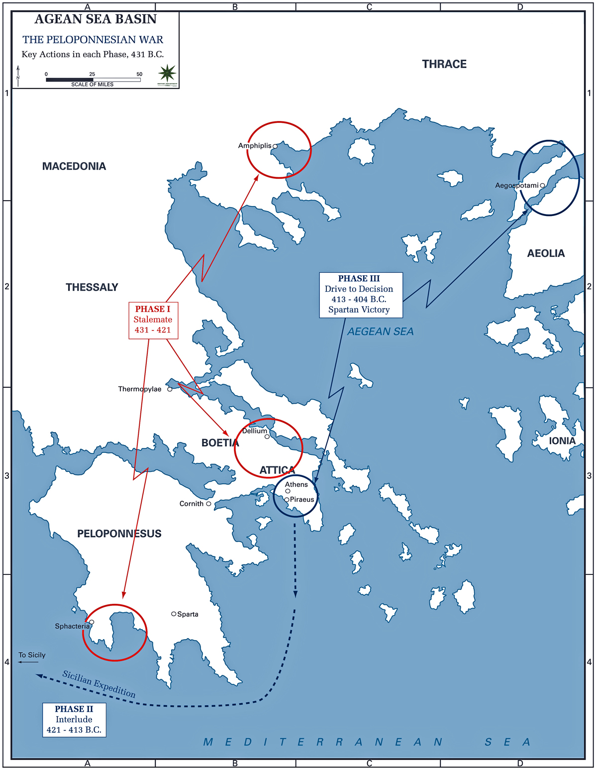 Map of the Peloponnesian War 431-404 BC