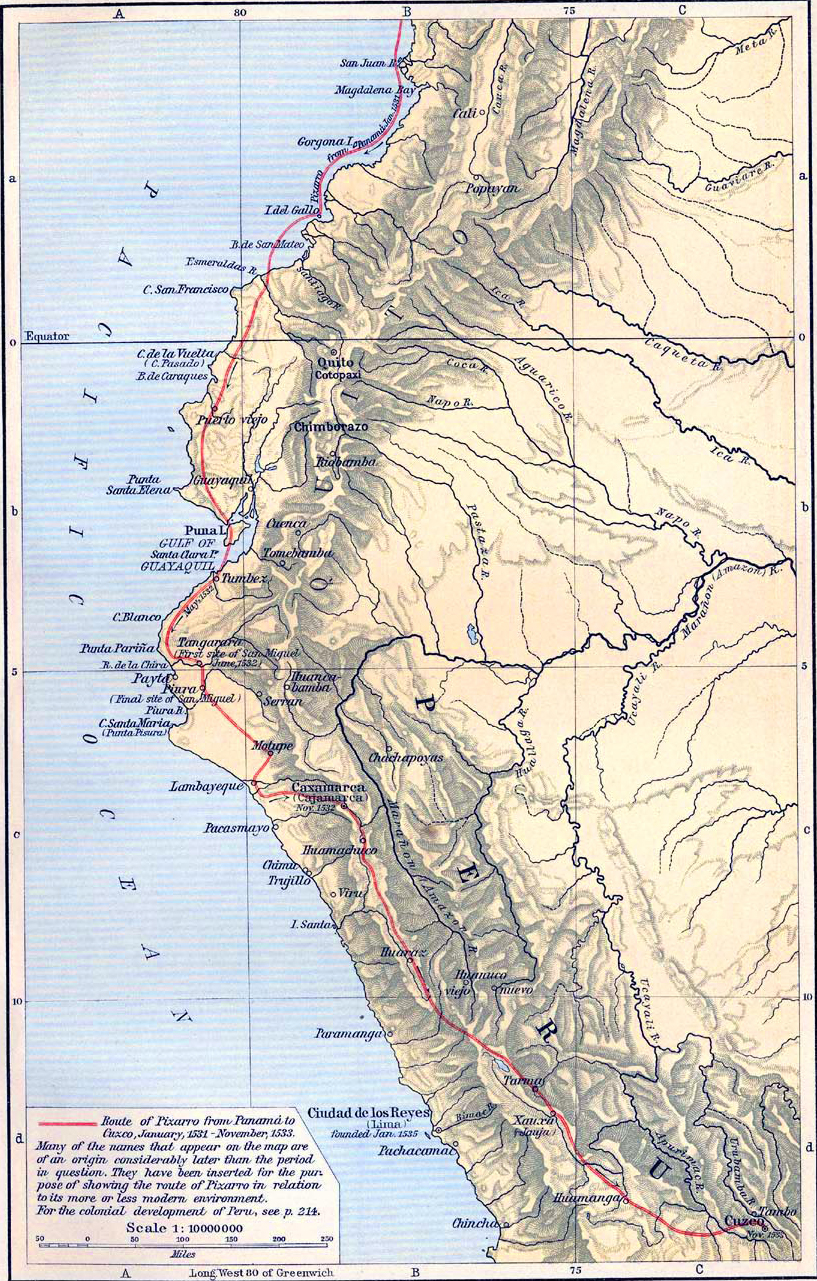 Map of the conquest of peru 1531 1533 historical map of the conquest of peru 1531 1533 gumiabroncs Choice Image