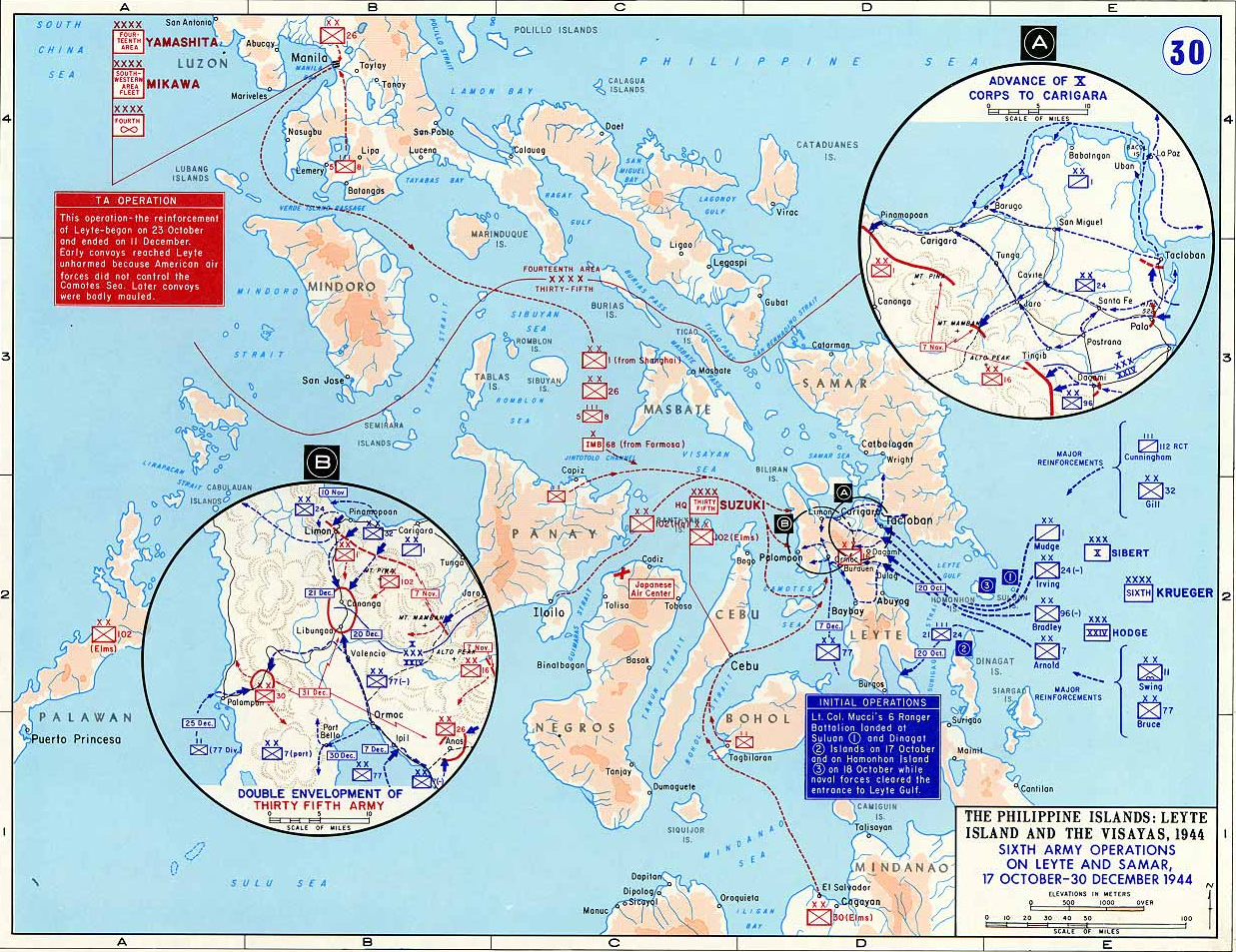 Map of wwii the philippines 1944 map of world war ii the philippine islands leyte island and the visayas gumiabroncs Choice Image