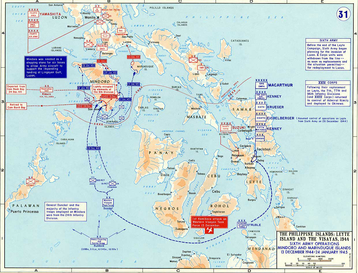 Map of wwii the philippines 1945 map of world war ii the philippine islands leyte island and the visayas gumiabroncs Gallery