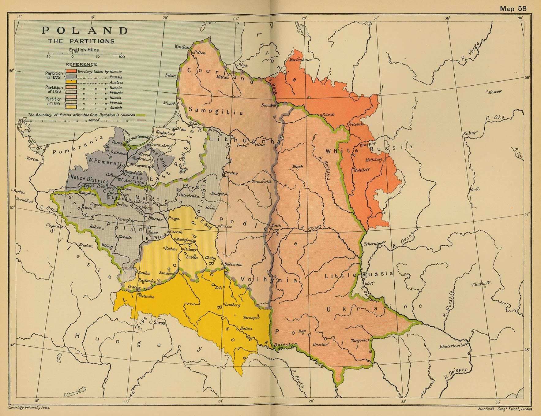 Map Of Poland The Partitions Of - Historical outline map