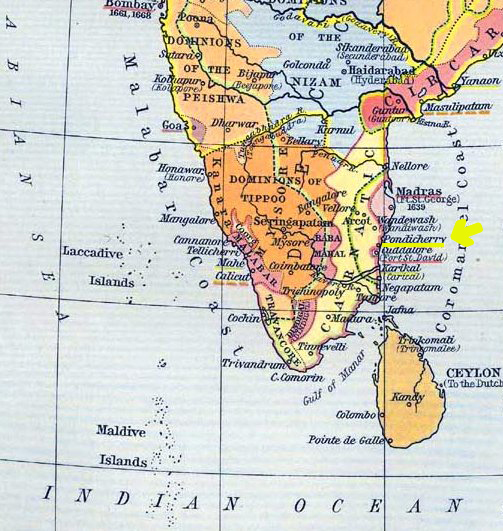 Map Location of Pondicherry (Pondichéry), Today's Puducherry, southeastern India