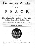 Preliminary Articles of Peace - Fontainebleau, November 3, 1762