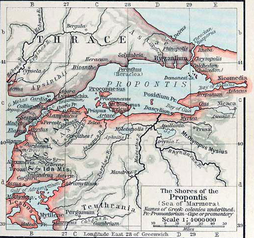 History map of the shores of the Propontis (Sea of Marmara)