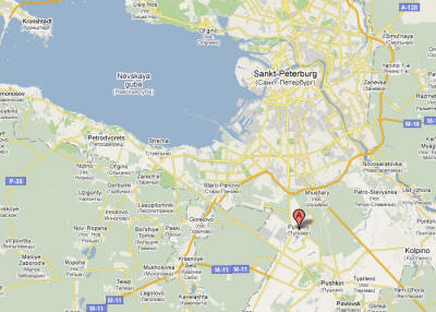 MAP LOCATION OF PULKOVO, SAINT PETERSBURG, RUSSIA