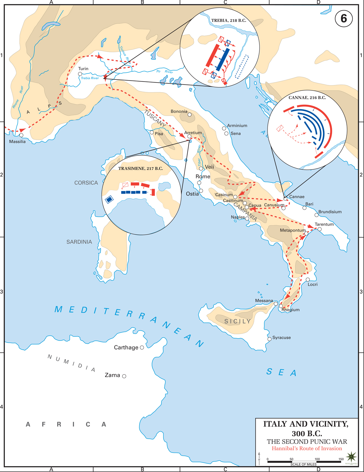 Map of Hannibal's Route of Invasion - Second Punic War 218-201 BC