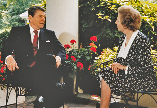 HAPPIER DAYS - REAGAN AND THATCHER AT THE WHITE HOUSE IN 1987