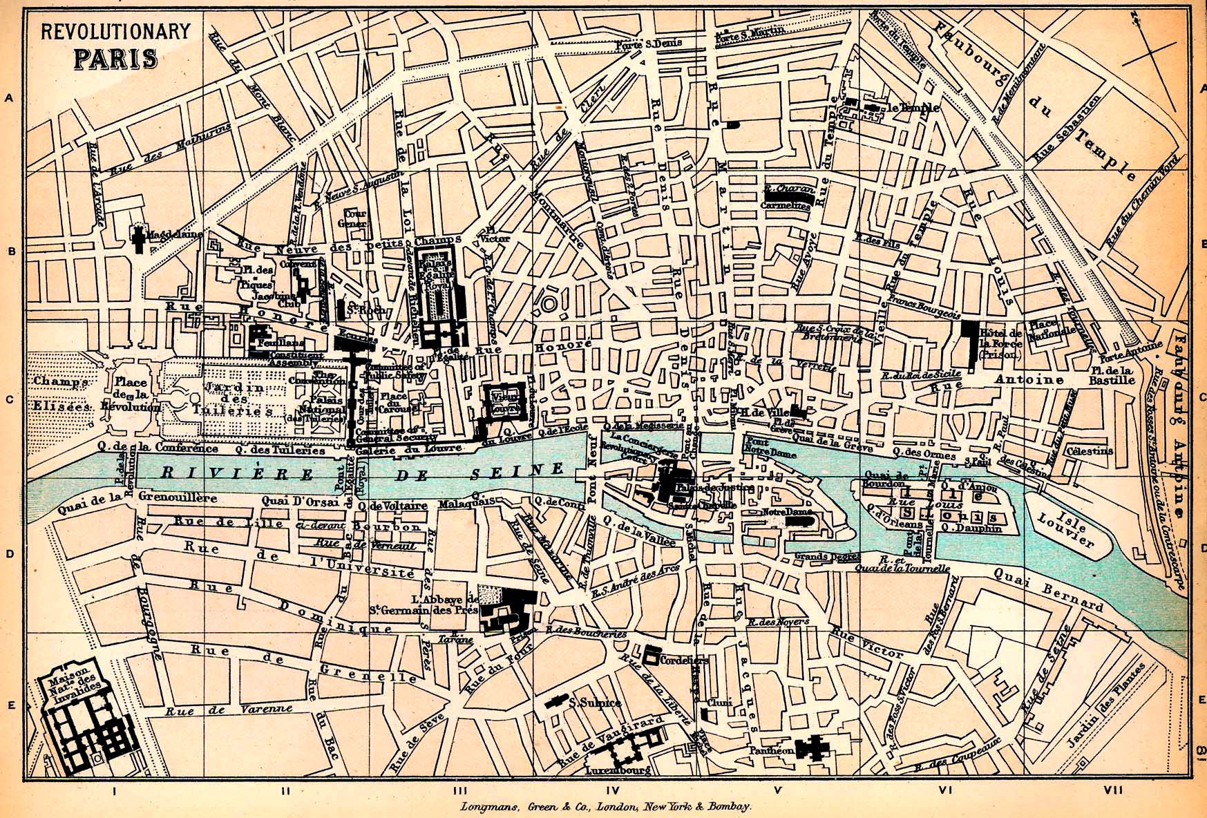 Map of Revolutionary Paris 1789