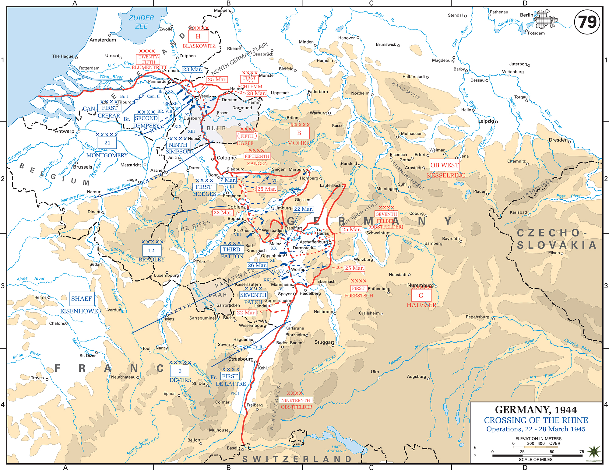 map of world war ii european western front crossing of the rhine river. map of wwii crossing of the rhine