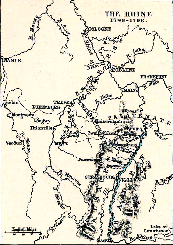 Map Of The Rhine River 1792 1796