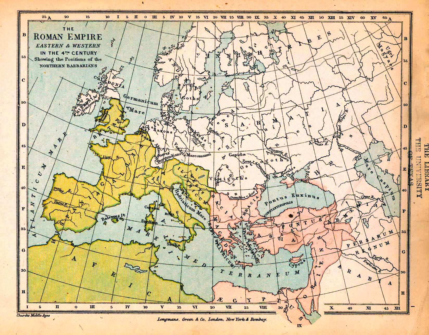 Map of the Roman Empire, Eastern and Western, in the 4th Century