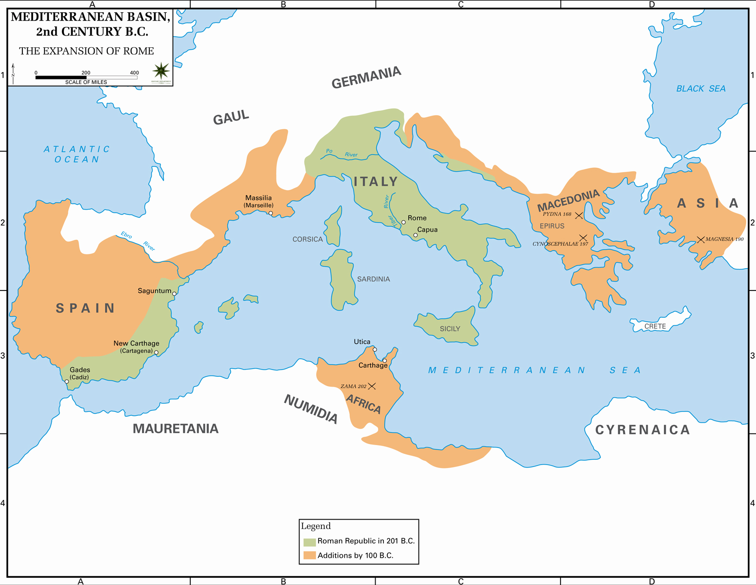 Map of the Roman Republic 2nd Century BC
