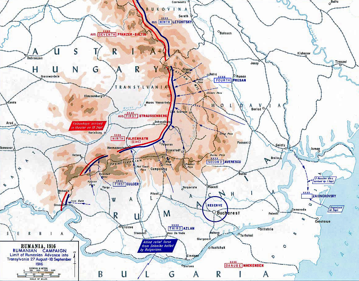 map of wwi romanian campaign  aug sep  . of wwi romanian campaign  aug sep