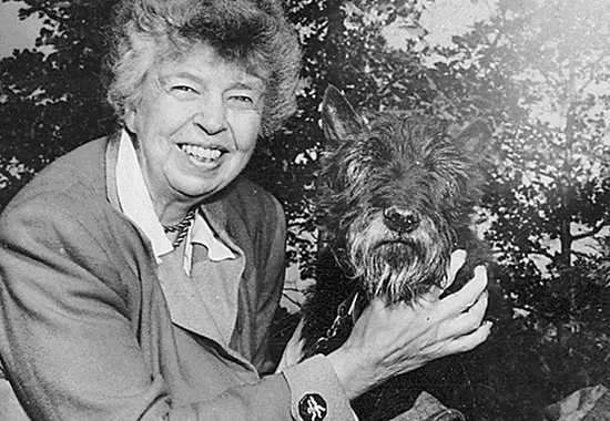 ELEANOR ROOSEVELT AND FALA, AT VAL-KILL, HYDE PARK, N.Y. - 1951
