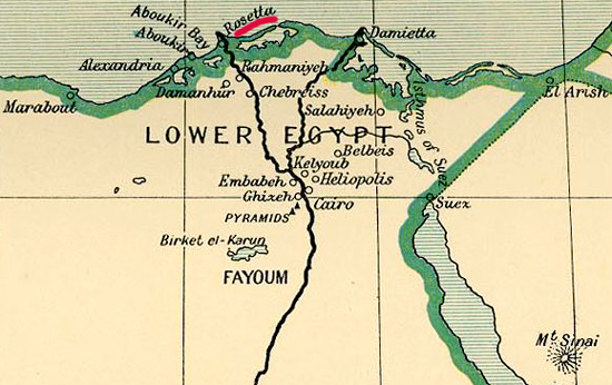 Map Location of Rosetta, Egypt in 1798