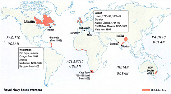 Impressment History Dictionary - Map of us naval bases around the world