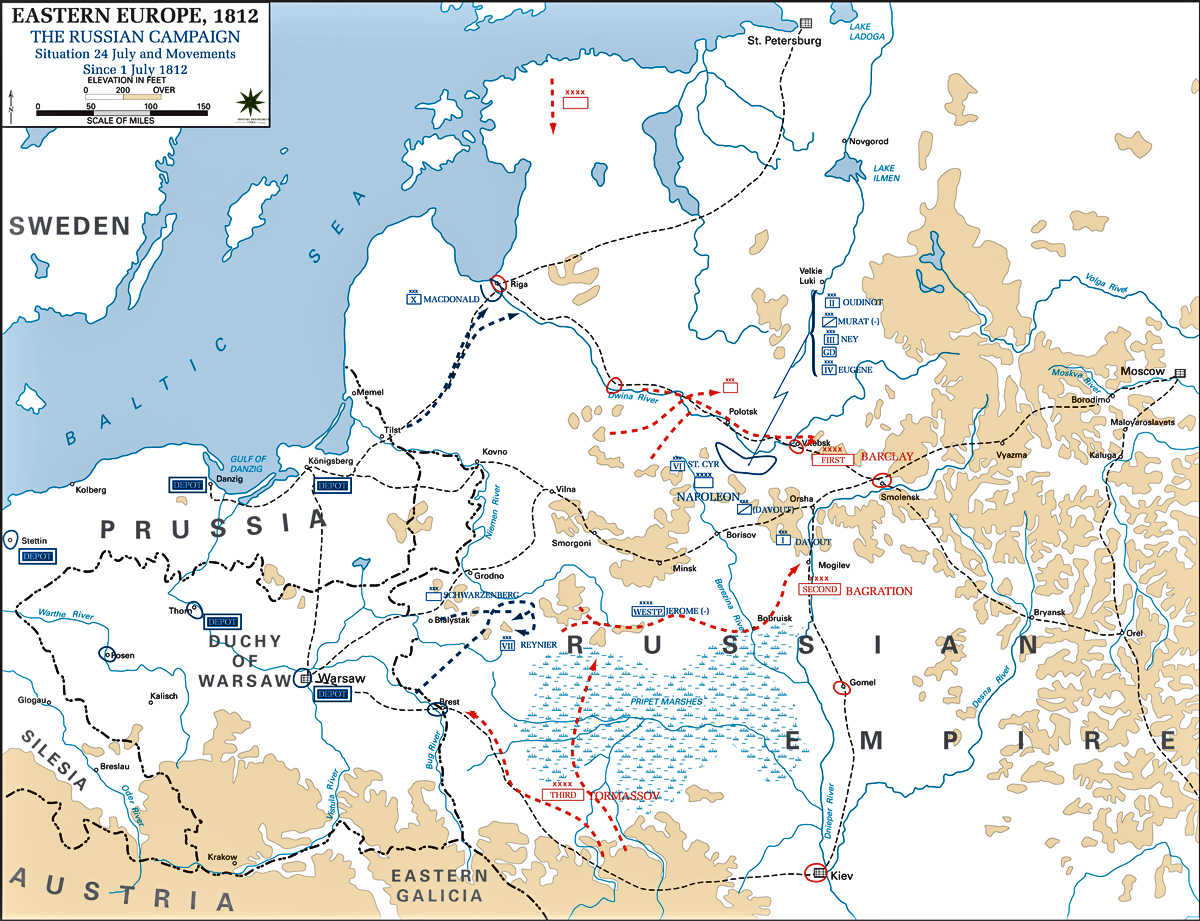 map of the russian campaign 1812 july 24