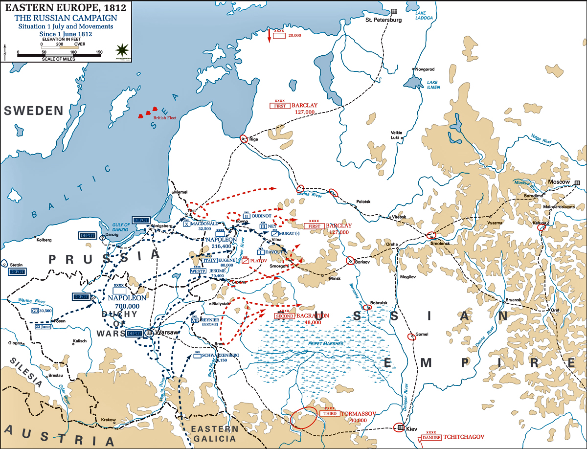 Map of the Russian Campaign 1812: July 1