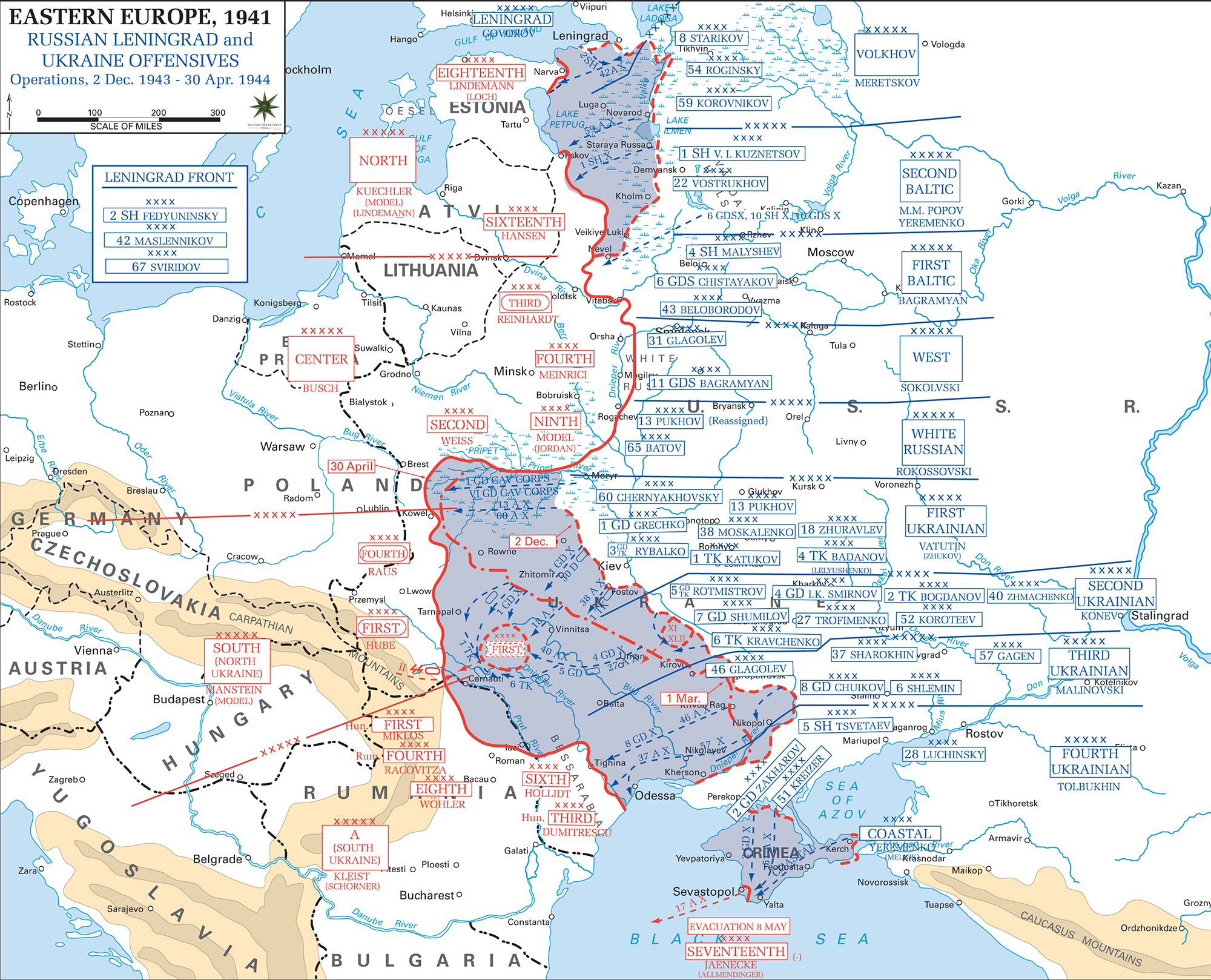 Map of russia in wwii december 2 1943 april 30 1944 map of wwii russia 194344 leningrad and ukraine offensives december 2 gumiabroncs Gallery