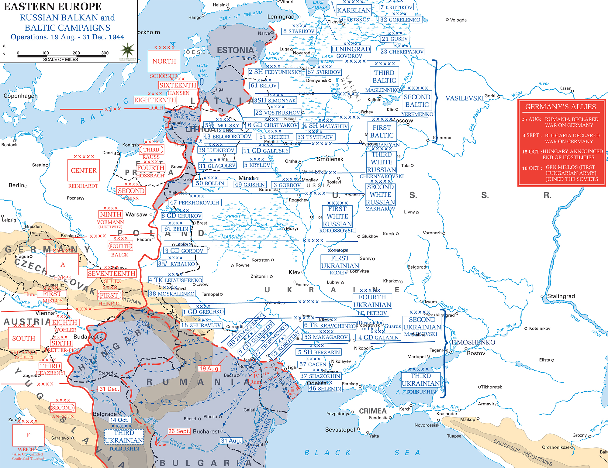 Map of WWII: Russia 1944. Russian Balkan and Baltic Campaigns August 19 - December 31, 1944