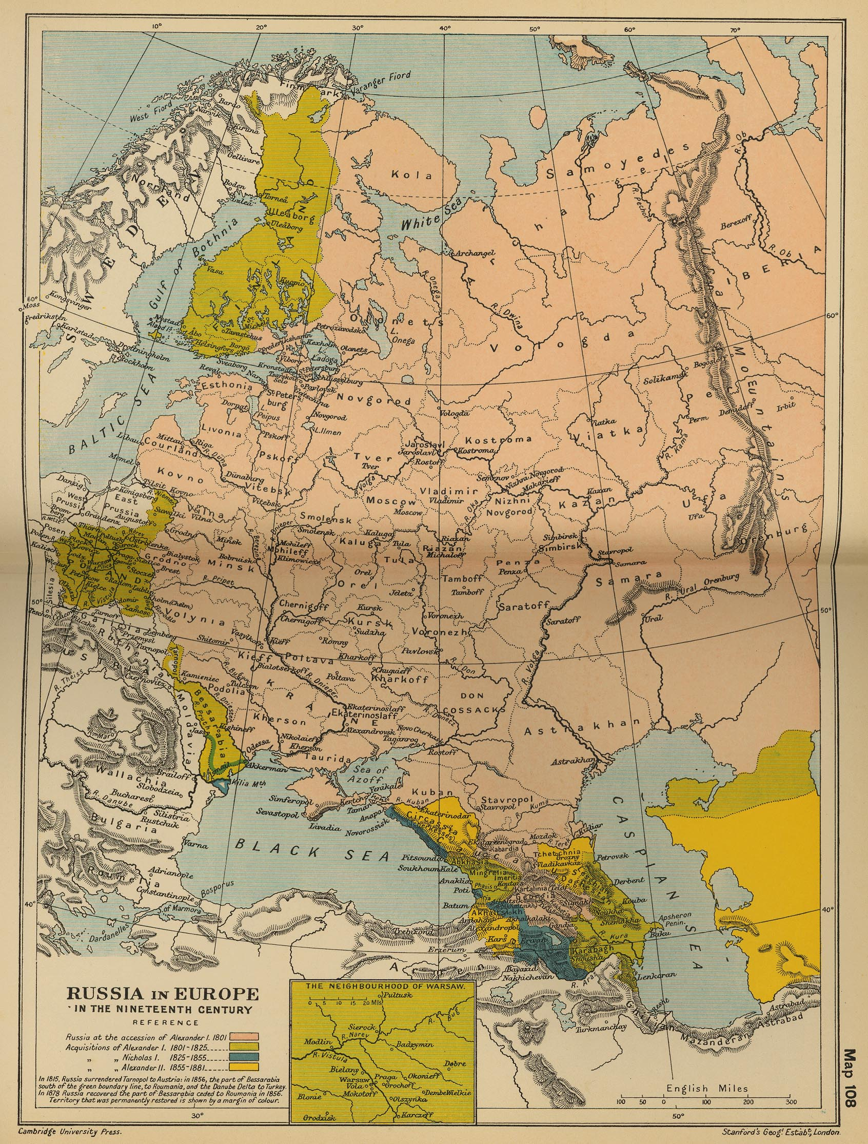 Map of Russia in Europe 19th Century