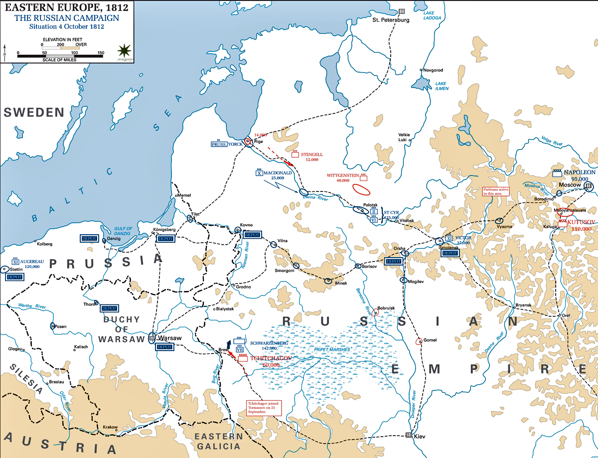 Map of the Russian Campaign 1812: October 4