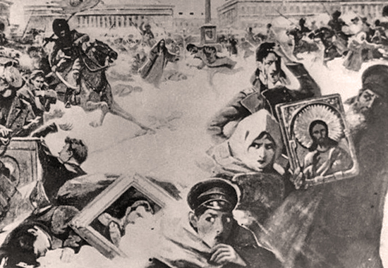 Russian Revolution 1905 - Bloody Sunday in Saint Petersburg, Russia - January 22, 1905