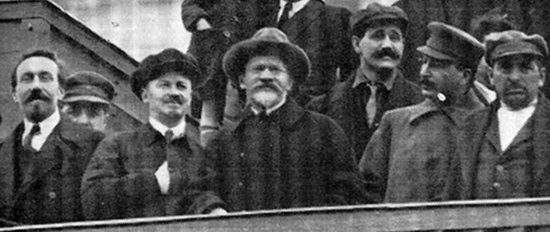 Rykov, Bukharin, Kalinin, Uglanov, Stalin, and Tomsky at Lenin's Tomb in Moscow in 1927 at the Tenth Anniversary of the Russian Revolution