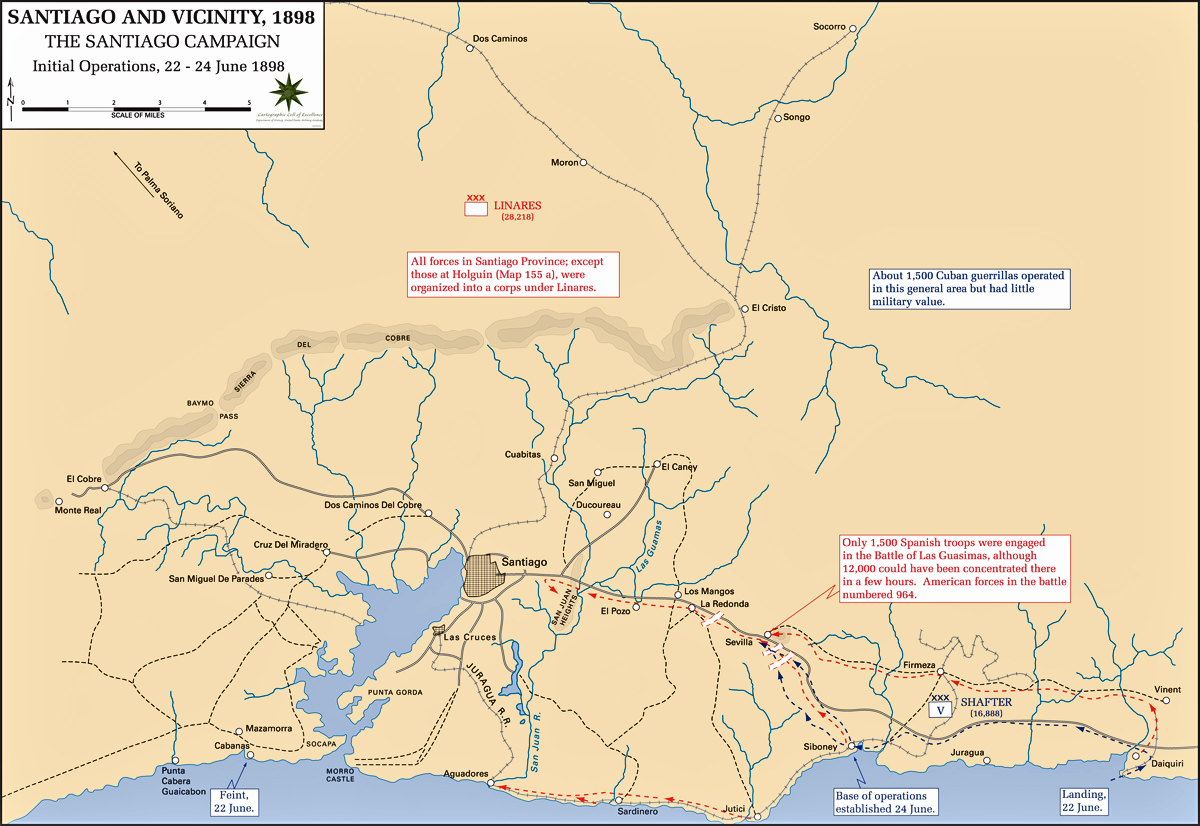 Map of the Santiago Campaign: June 22-24, 1898