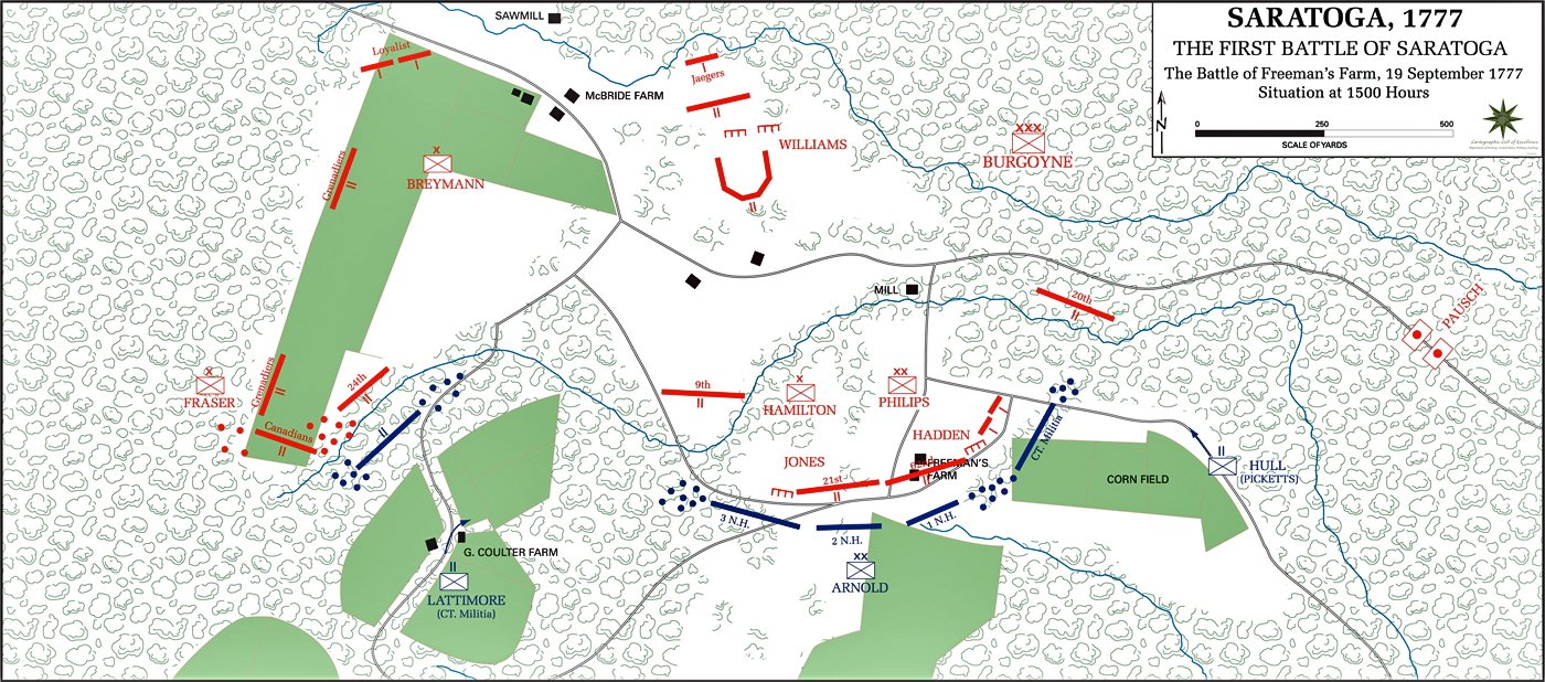 Of The First Battle Of Saratoga At Hours September - Battle of saratoga us maps