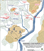 Map of the Second Battle of Saratoga - October 7, 1777