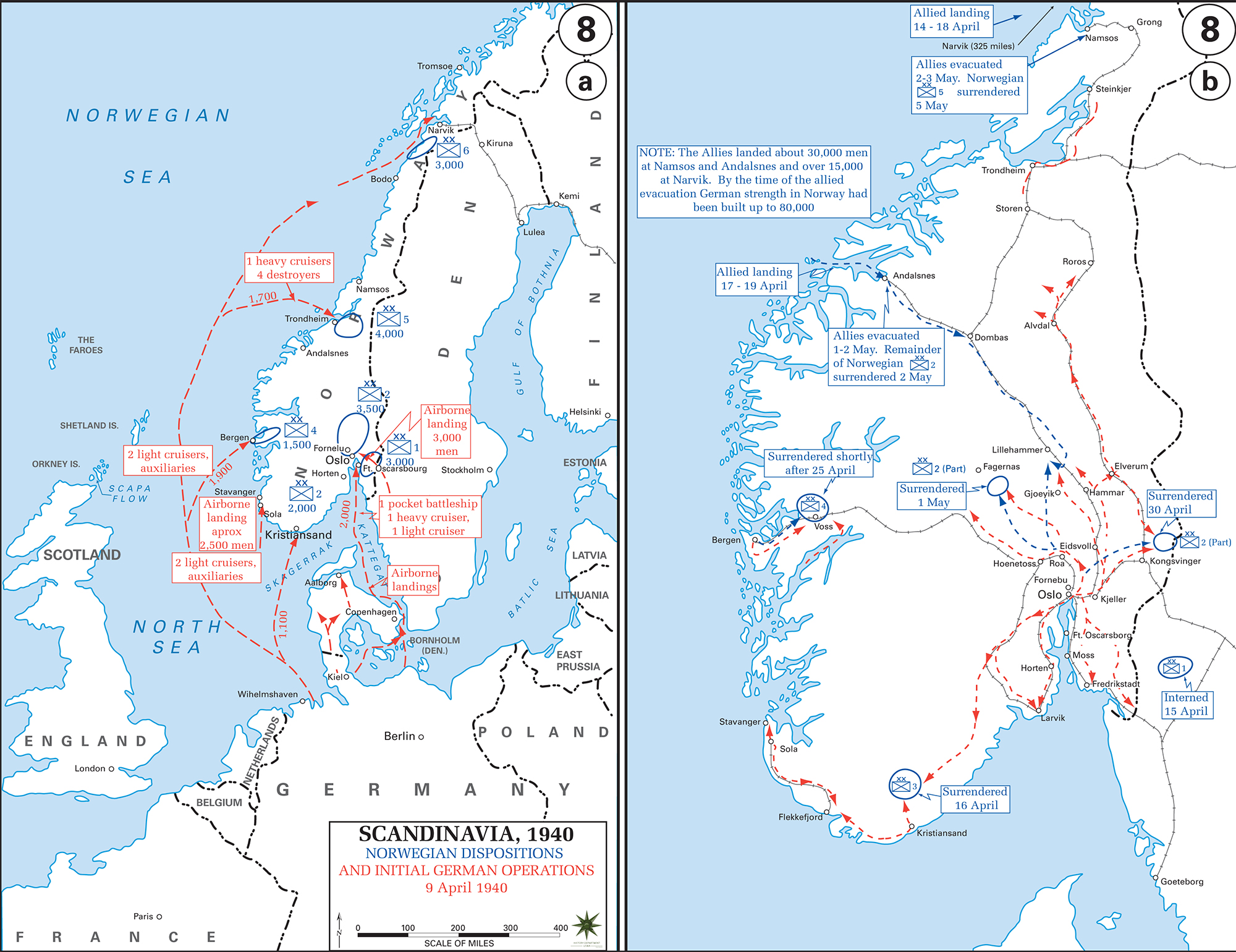 Map of WWII Scandinavia 1940