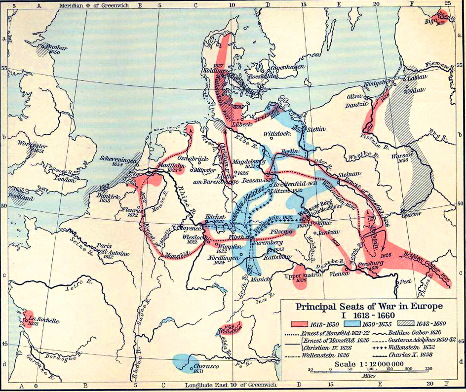 Map Of The Wars In Europe - Map germany thirty years war