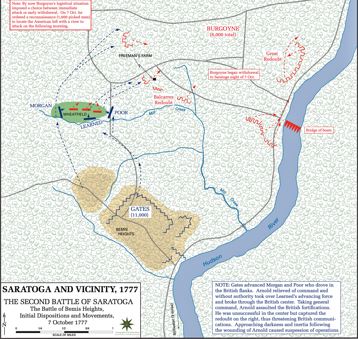 map of the second battle of saratoga initial dispositions  october  . of the second battle of saratoga initial dispositions  october