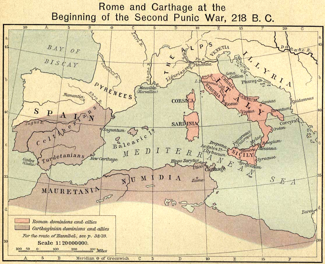 Map of Rome and Carthage at the Beginning of the Second Punic War, 218 B.C.
