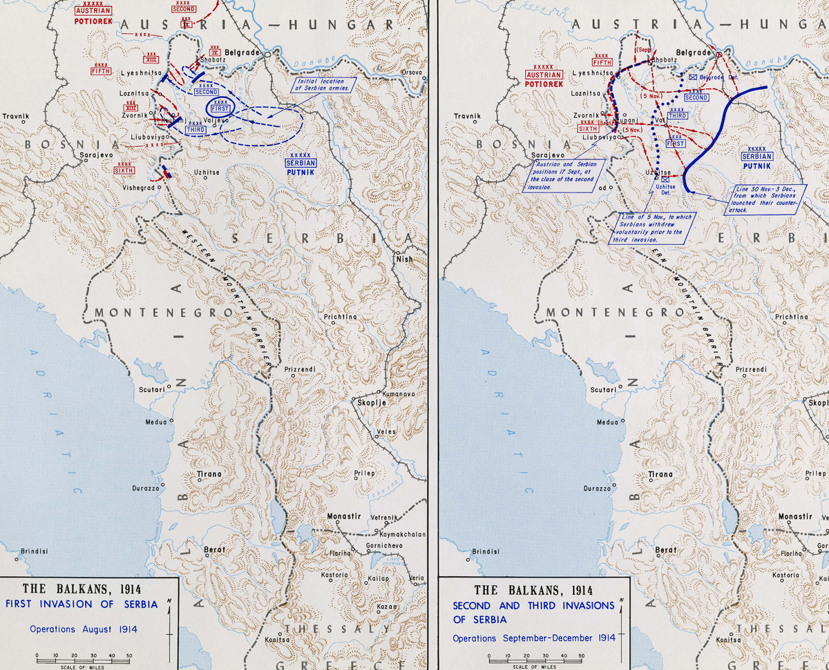 Map Of WWI Invasions Of Serbia - Map of serbia