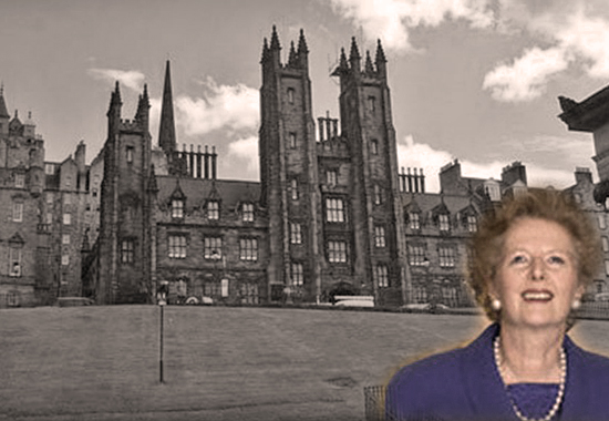 MARGARET THATCHER AND THE ASSEMBLY HALL OF THE CHURCH OF SCOTLAND, THE MOUND, EDINBURGH