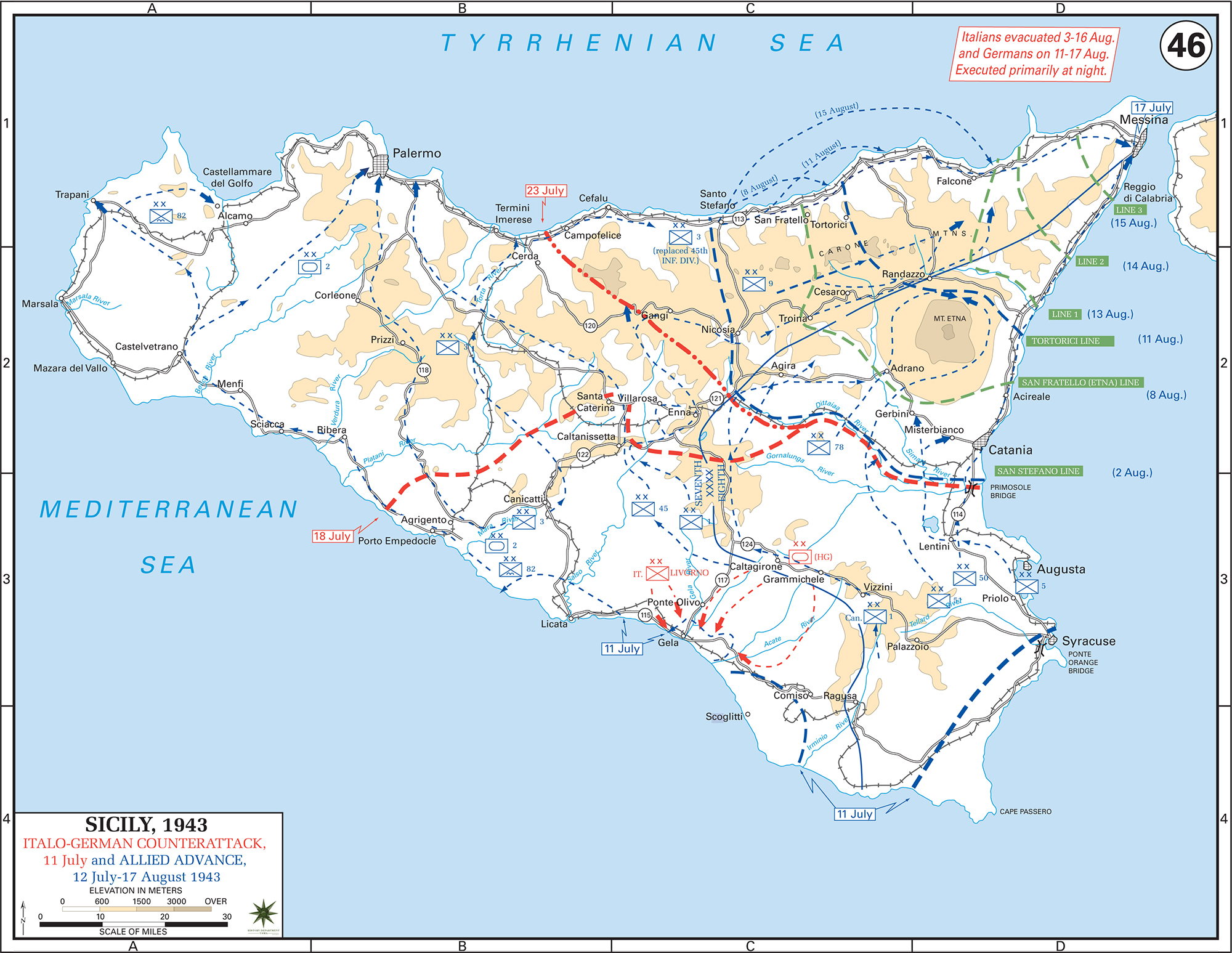 Map of WWII Sicily July 11 - August 17, 1943, Italo-German Counter-Attack