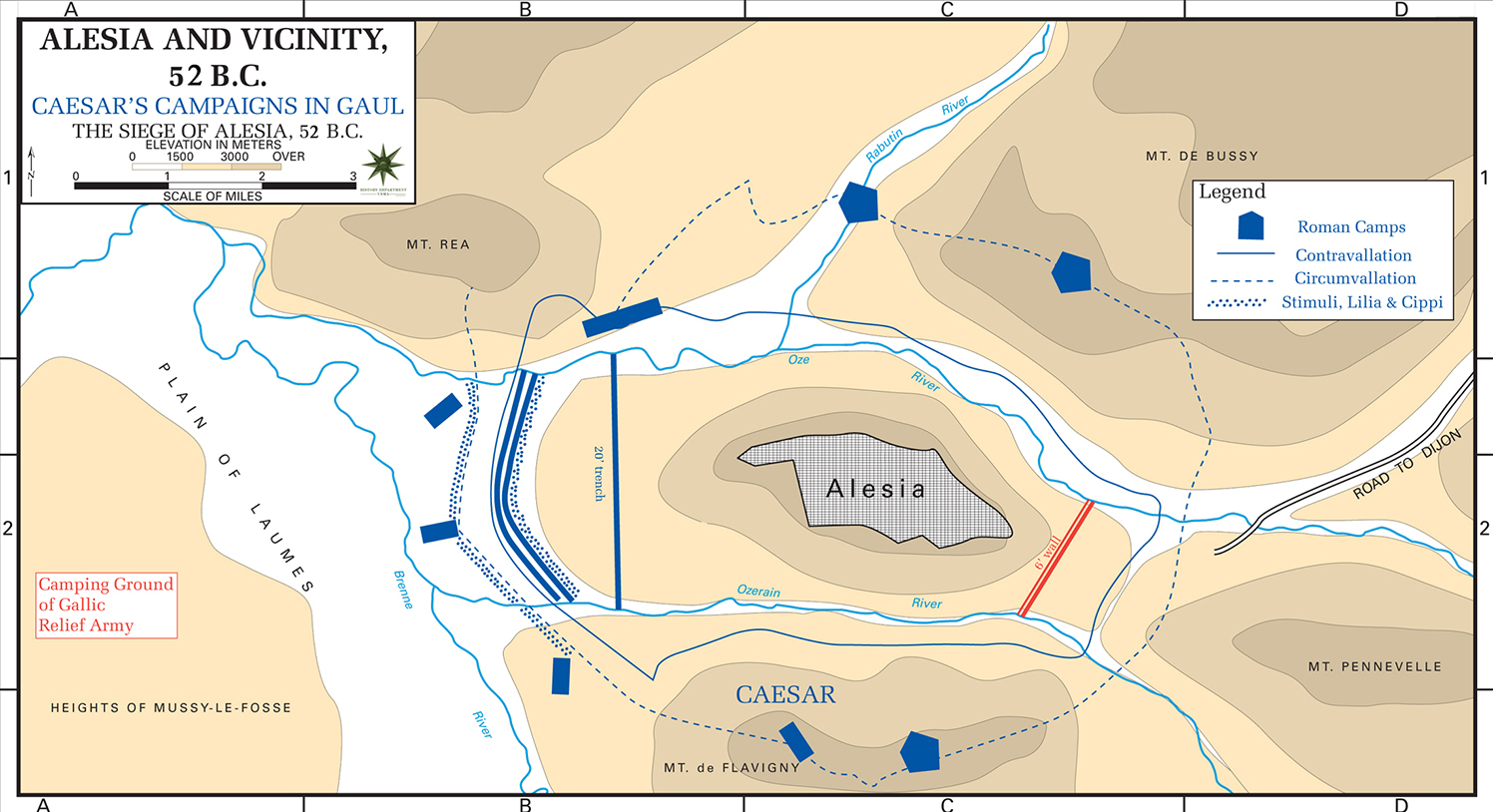 Map of the Siege of Alesia 52 BC